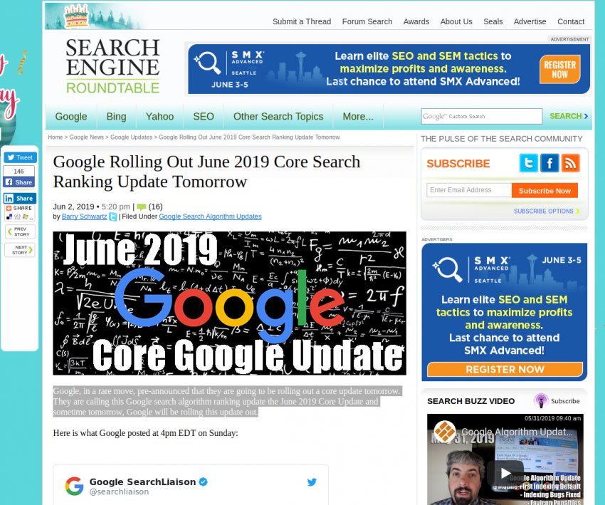 Google Rolling Out June 2019 Core Search Ranking Update Tomorrow