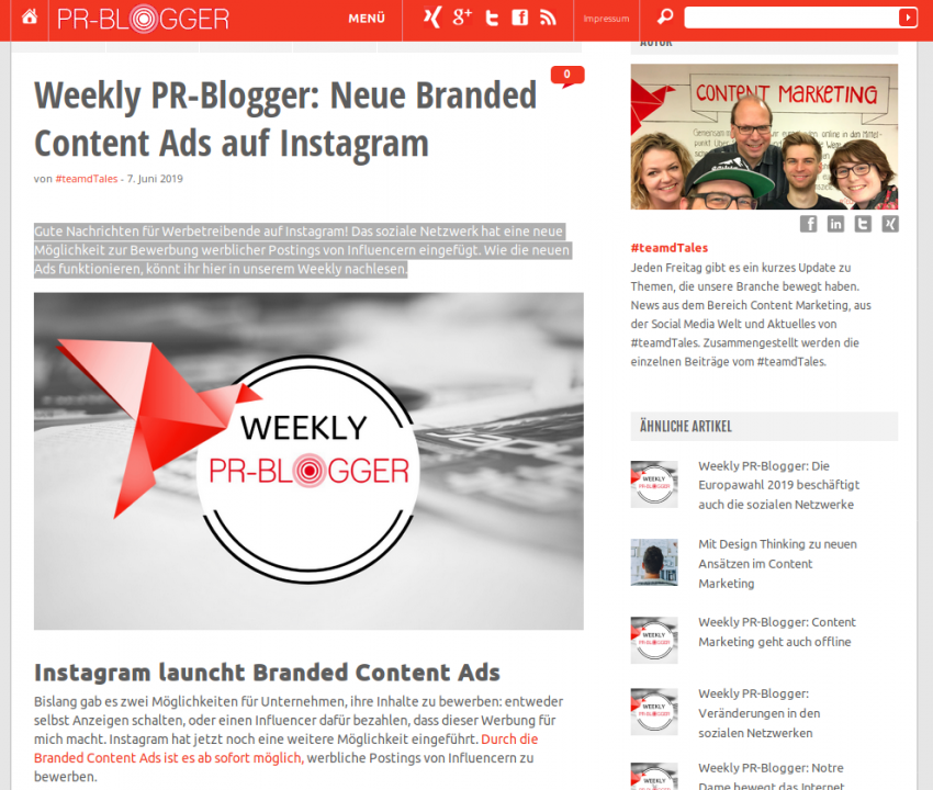 Weekly PR-Blogger: Neue Branded Content Ads auf Instagram
