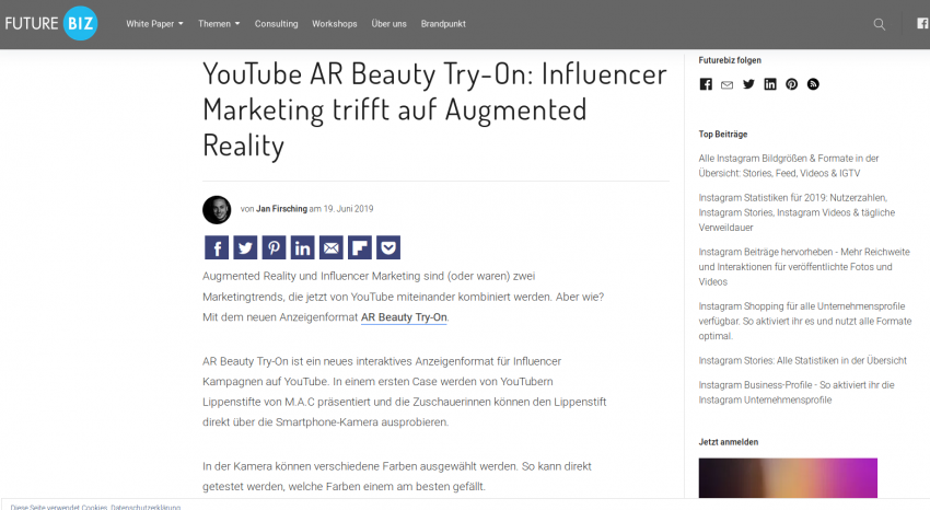 YouTube AR Beauty Try-On: Influencer Marketing trifft auf Augmented Reality