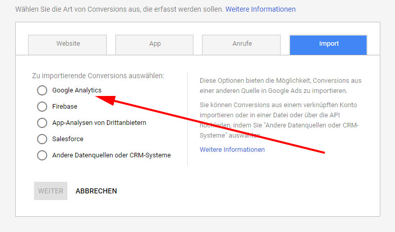 Conversions in Analytics einrichten