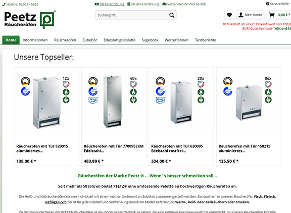Screenshot peetz-onlineshop.de